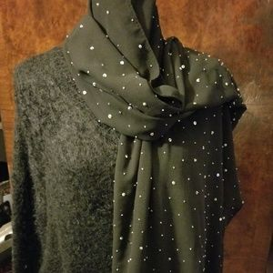 VTG Women's Black Sequin Evening Wrap Prom Scarf
